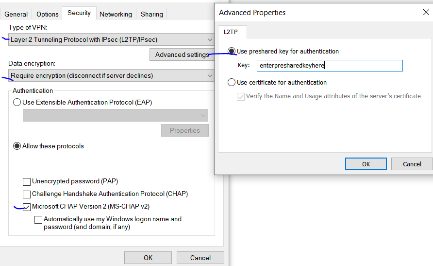 L2TP preshared key on local PC VPN connection settings
