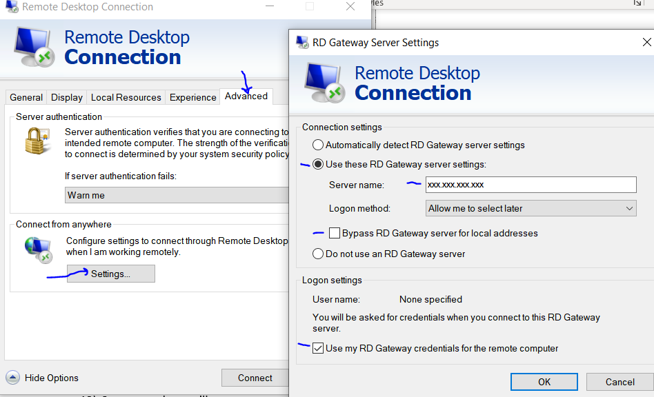 Local Connection Client Gateway settings