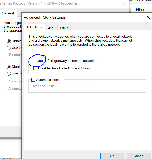 Local PC VPN connection - uncheck use default gateway