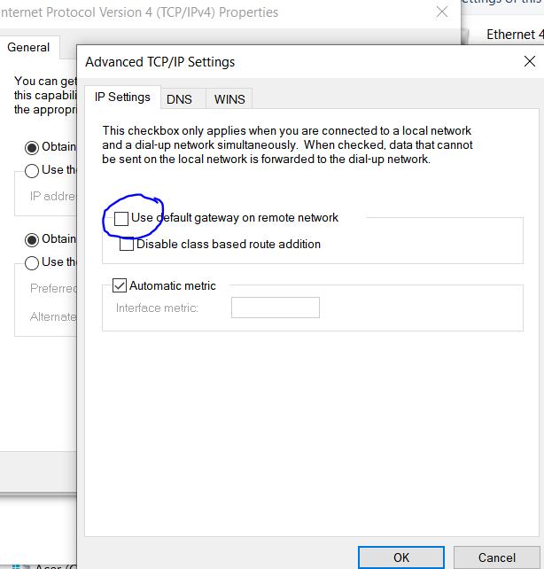 Local PC VPN connection - uncheck use default gateway