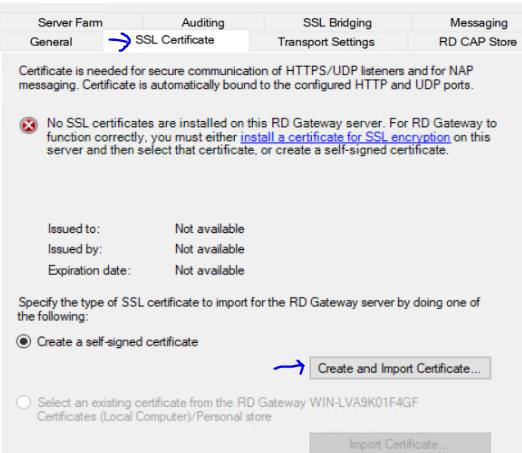 RDGW properties SSL tab