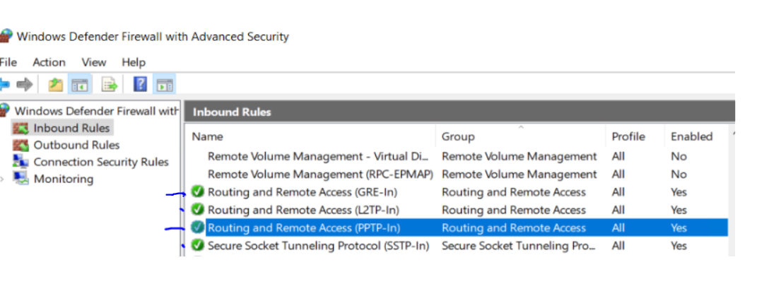 Windows Firewall Inbound Rule PPTP GRE L2TP SSTP