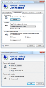 Redirect sound audio from remote desktop server to local
