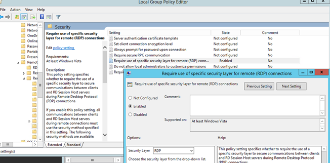 Issue in Windows 2012 R2 when setting RDP users to change password