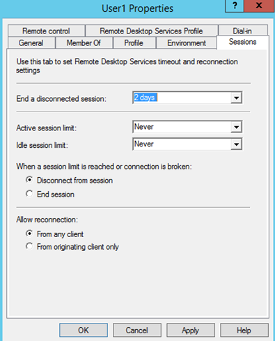 How to set time limit for disconnected sessions Windows