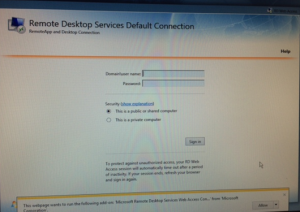 RemoteApp RDWeb website hosted on Windows Server 2008R2 does not