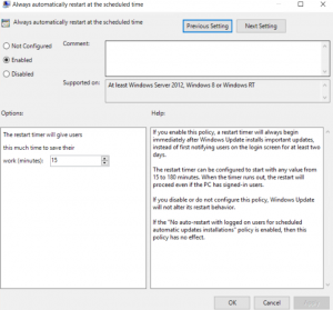 How to modify timing of Windows Updates in Windows Server 2016 to